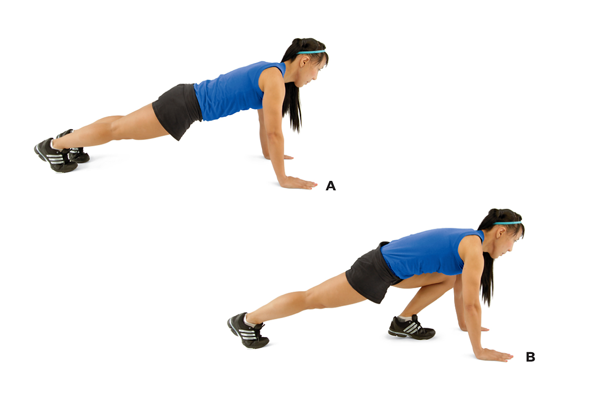 Woman demonstrating how to perform a mountain climber exercise