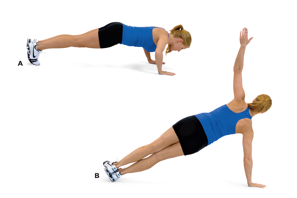 woman showing how to do a side plan with arm extension