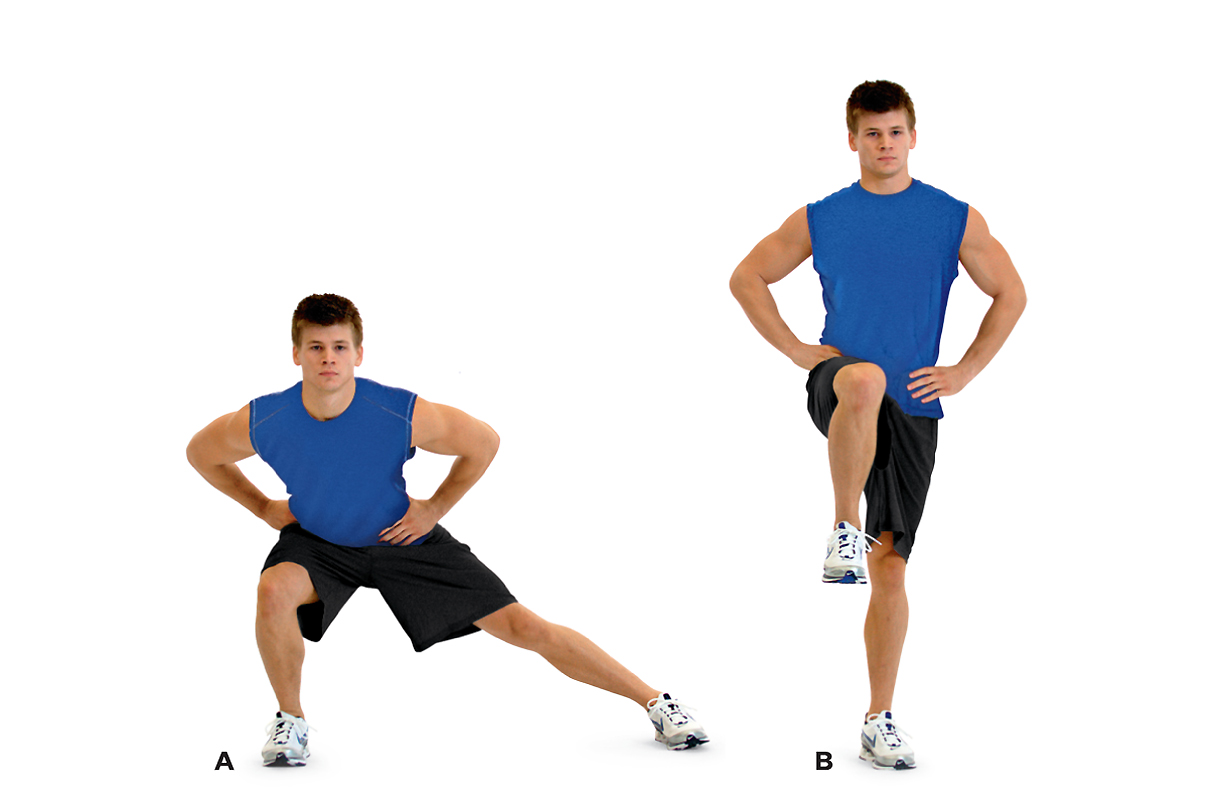 Man demonstrating a side lunge to one leg balance pose