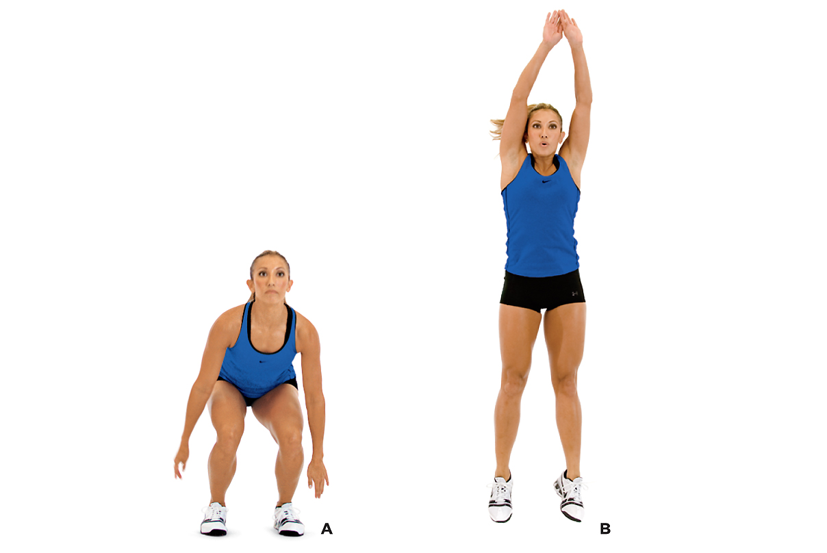 woman showing how to do a squat jump with stabilization