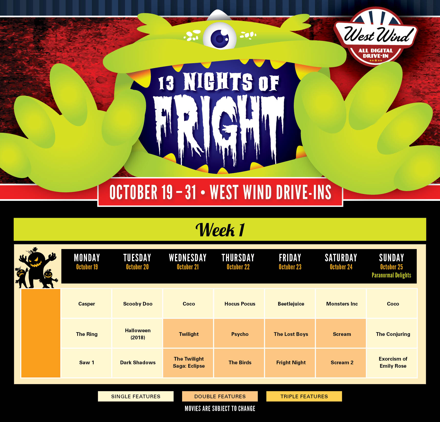 Solano Calendar of Movies Fright Fest