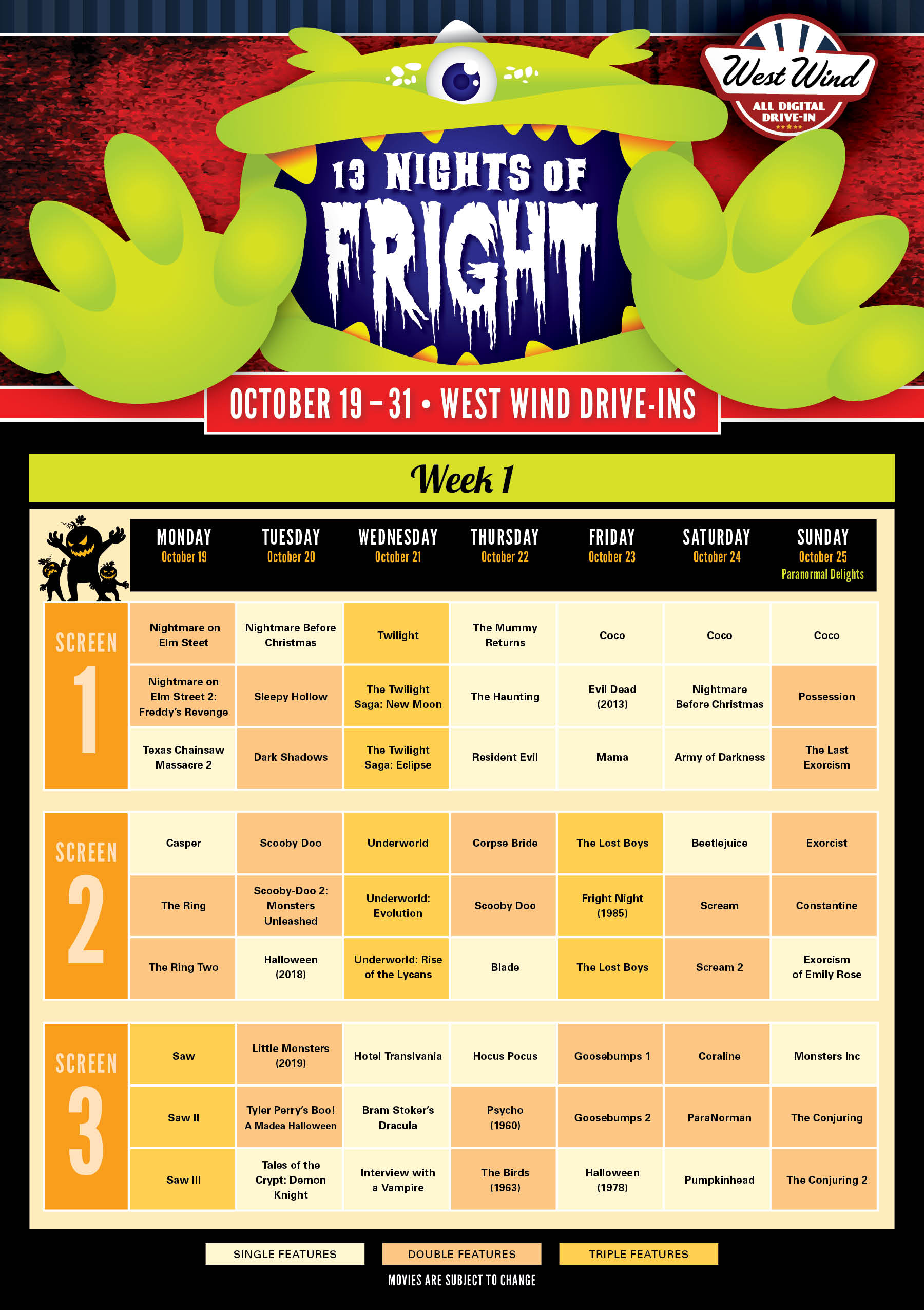 Calendar for Fright Fest in San Jose, Glendale, Sacramento and Las Vegas