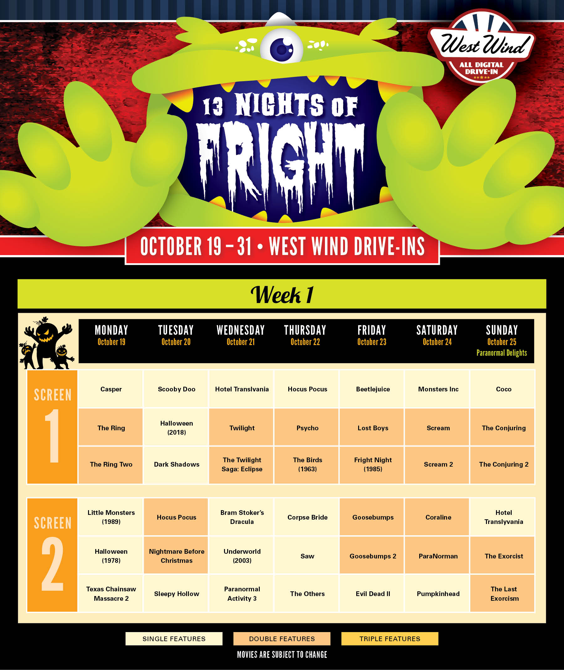 Reno Calendar of Movies Fright Fest