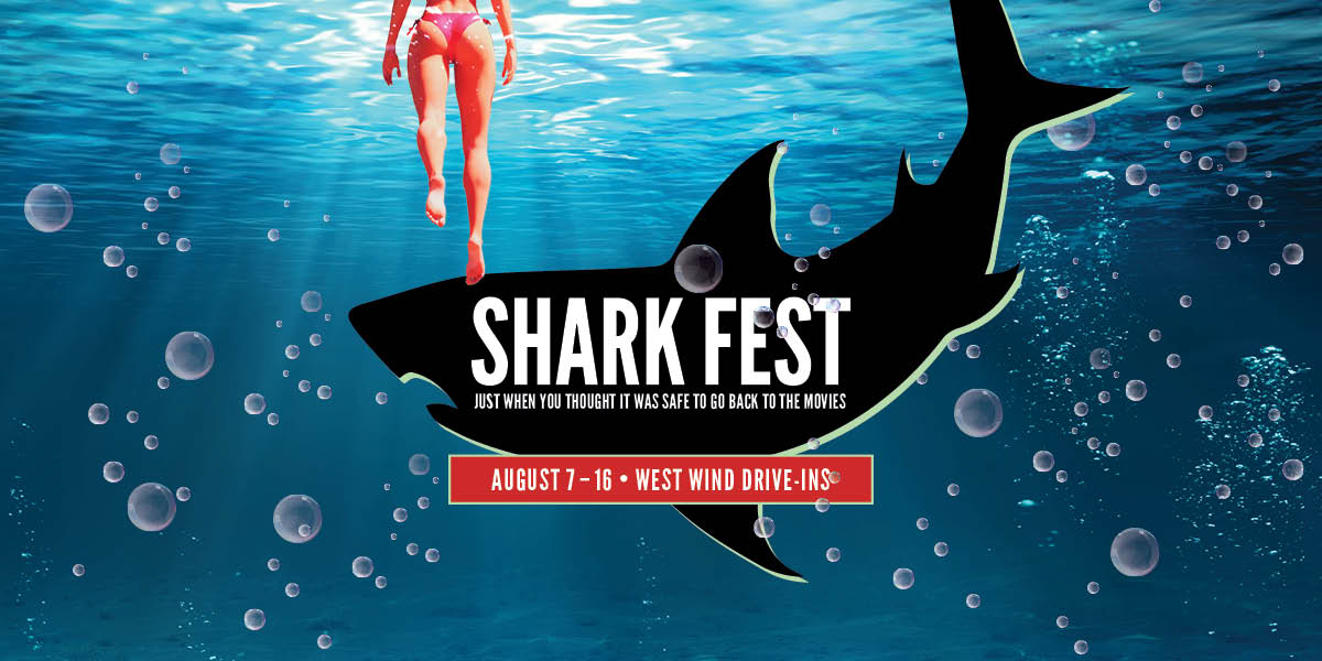 Image of girl in water with shark that says West Wind Shark Fest 2020 on it